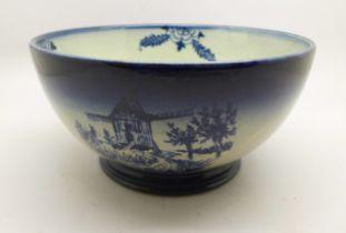 A Royal Bonn Delft bowl, a/f (hairline)