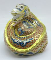 A Royal Crown Derby Dragon of Happiness paperweight, Millennium Exclusive, limited edition 11 of