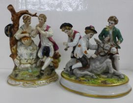 Two German porcelain figure groups, three boys tormenting a mule, small a/f (finger-tip missing) and