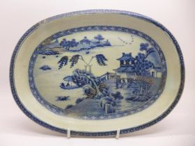 An 18th Century Chinese Nanking blue and white dish, 26cm