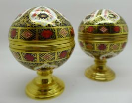 A Royal Crown Derby Millenium Globe Thermometer and Millenium Globe Barometer, exclusively