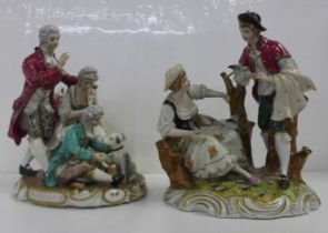 Two German porcelain figure groups; a couple with birds, small a/f (fingers) and three figures