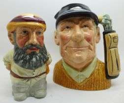 A Royal Doulton character jug, golfer, second and a Staffordshire character jug, W. G. Grace