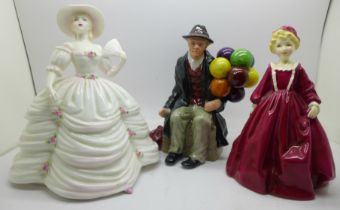 A Coalport figure, Southern Belle, a Royal Worcester Grandmother's Dress and one other figure
