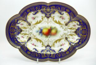 A Royal Worcester dish, hand decorated with fruit, signed Sebright, width 27cm