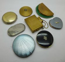 Seven compacts including Stratton and a combination Kigu compact and cigarette case