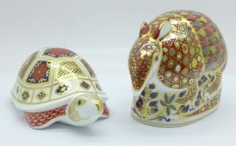 Two Royal Crown Derby paperweights, Turtle with silver stopper and Armadillo with gold stopper, both