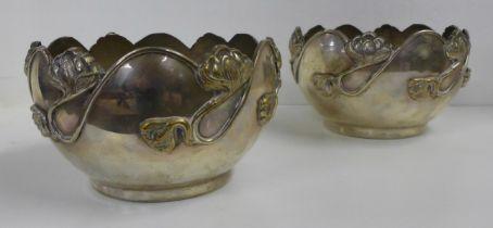 A pair of Art Nouveau metal bowls