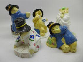 Five Paddington Bear Coalport figures, two a/f