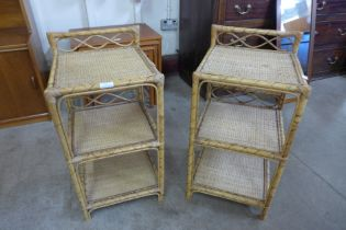 A pair of bamboo and rattan bedside tables