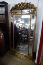 A large gilt French style gilt framed mirror with crest, 183cms h (M32168) #