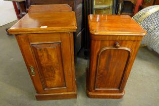 A Victorian walnut pot cupboard and a Victorian mahogany pot cupboard