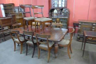 An early Victorian mahogany extending dining table, with four additional leaves, a/f