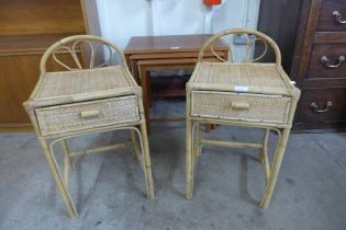 A pair of bamboo and rattan single drawer bedside tables