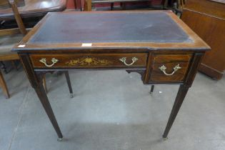 An Edward VII Maple & Co. inlaid rosewood and leather topped lady's writing table