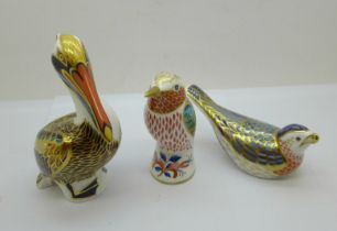 Three Royal Crown Derby paperweights - Hummingbird with gold stopper and box, Bluebird with gold