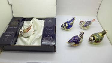 Five Royal Crown Derby paperweights - Goldcrest with gold stopper, Wren with gold stopper, Blue
