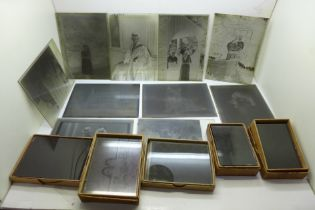 Six boxes of glass plate negatives (sixty plates), Edwardian, various subjects