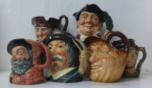 Six large Royal Doulton character jugs, Sancho Panca, Mine Host, Johnny Appleseed, Falstaff, Old