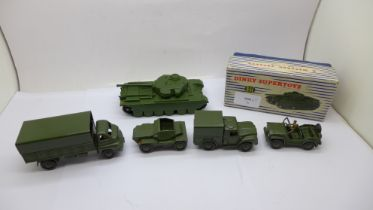 A Dinky Supertoys 651 Centurion tank, boxed and other Dinky military vehicles