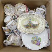 Three tea sets comprising Salisbury, Empire and Ridgway including plates, cups and saucers, a tea