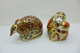 Two Royal Crown Derby paperweights - Monkey and Baby, launched in 1992 (the Chinese Year of the