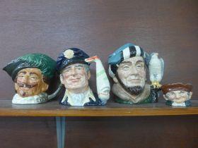 Three large Royal Doulton Character mugs, The Falconer, The Yachtsman, Cavalier and a Royal