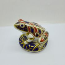 A Royal Crown Derby frog paperweight with gold stopper