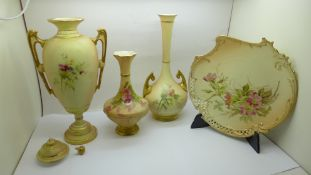 Three Royal Worcester blush ivory vases and a plate, lid a/f
