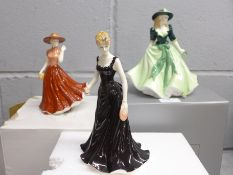 Three Royal Worcester figures; Floral Lady, Holly and one other