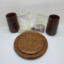 A thuya wood solitaire set with two sets of natural stone marbles and two dice cups