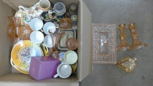 A collection of coloured orange glass, two steins, a Czech tea set, mugs, fish dish, etc.
