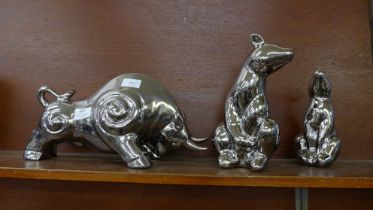 Three pottery and chrome finish animals; two bears and a bull