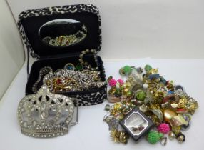 A collection of costume earrings and paste costume jewellery