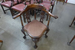 A Chippendale Revival carved mahogany corner chair