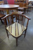 An Edward VII inlaid mahogany corner chair