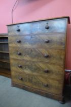 A Victorian flame figured mahogany chest of drawers