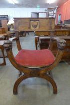 An early 20th Century oak Savaranola chair