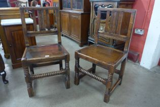 A pair of 17th Century style joint oak side chairs