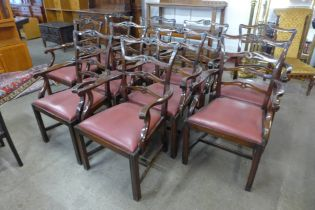 A set of ten Chippendale Revival mahogany dining chairs