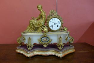 A 19th Century French gilt metal and alabaster mantel clock, the movement signed Vincent & Cie.