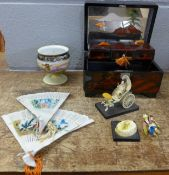 An oriental lacquered jewellery box, tea set, fans, Noritake bowl, etc.**PLEASE NOTE THIS LOT IS NOT