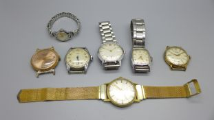 Six wristwatches including a gentleman's Poljot, and one lady's Tissot, glass a/f, (Aries lacking