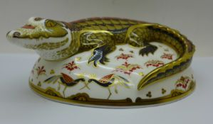 A Royal Crown Derby Paperweight - ?Crocodile?, 21st anniversary edition (2003 date stamp) with