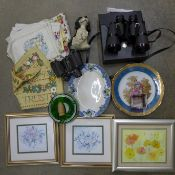 Two pairs of binoculars, one cased, a collection of plates, a table cloth and three framed pictures,