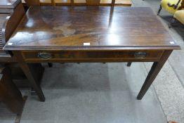 A George III inlaid mahogany single drawer side table