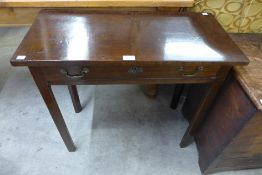 A George III mahogany single drawer side table