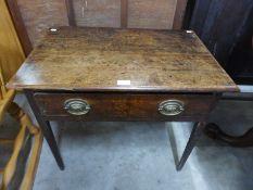 A George III oak single drawer side table