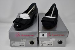 One as new Ros Hommerson Teddi low heeled shoe size 6.5W (colour: black patent). One as new Ros