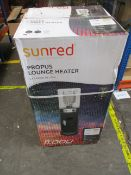 A boxed Sunred Propus Gas Lounge Heater in Grey.